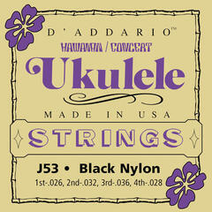 D'Addario J53 Ukulele 4-Nylon Strings Black