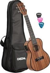 Cascha Concert Mahogany Ukulele Set with pickup system