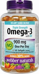 Webber Naturals Omega-3 Triple Strength 900 mg + vit. D3 65