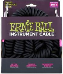 Ernie Ball 6044 30' Coiled Straight/Straight Instrument Cable Black