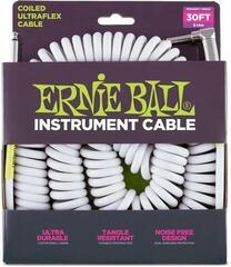 Ernie Ball 6045 30' Coiled Straight/Angle Instrument Cable White