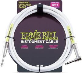 Ernie Ball Instrument Cable Бял/Директен - Ъглов