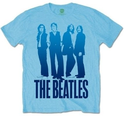 The Beatles Mens Iconic Image on Logo Light Blue T Shirt L