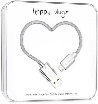 Happy Plugs Micro-USB Cable 2m Silver