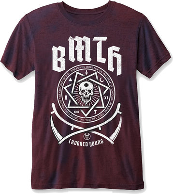Bring Me The Horizon Crooked Young Mens T Shirt Burnout Navy/Red XL