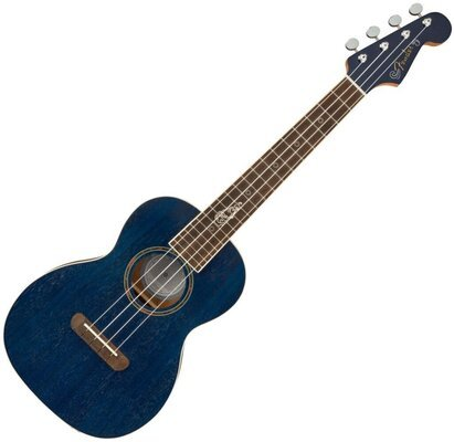 Fender Dhani Harrison Uke WN Tenor Ukulele Sapphire Blue Transparent