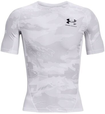 Under Armour HG Isochill Compression Print Mens Short Sleeve White/Black S