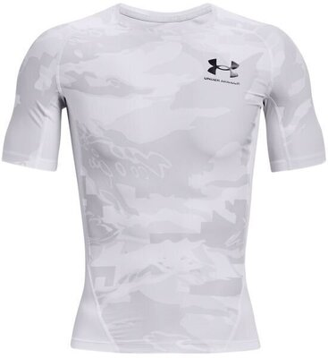 Under Armour HG Isochill Compression Print Mens Short Sleeve White/Black L