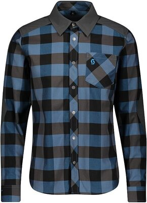 Scott Men's Trail Flow Check L/SL Atlantic Blue/Dark Grey L
