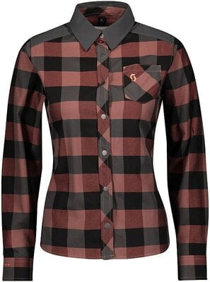 Scott Women's Trail Flow Check L/SL Brick Red/Dark Grey XL
