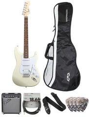 Fender Squier Bullet Stratocaster Tremolo HSS IL Deluxe SET Arctic White
