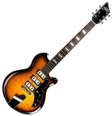 Supro Hampton Guitar Flame Maple Tobacco Sunburst