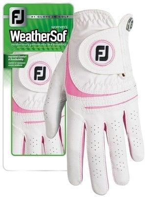 Footjoy WeatherSof Damska Rękawiczka Golfowa Biała/Różowa Lewa dla Praworęcznych ML