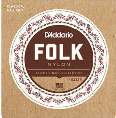 D'Addario EJ33 Folk Nylon 80/20 Bronze Clear Nylon Trebles