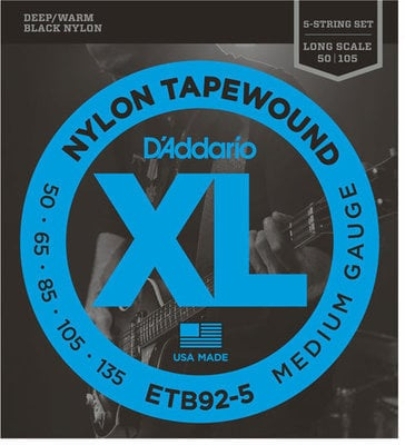 D'Addario ETB92-5 Tapewound 5-String Bass Long Scale 50-135
