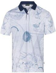 Golfino Printed Pánska Polo Košeľa With Striped Collar Sea 52
