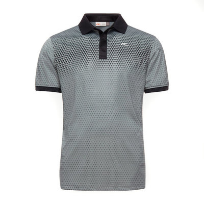 Kjus Men Spot Printed Polo S/S Black Steel Grey 54