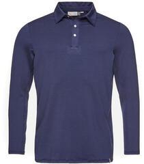 Kjus Soren Solid Long Sleeve Mens Polo Shirt Atlanta Blue