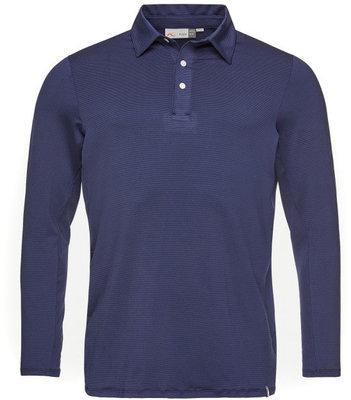 Kjus Soren Solid Long Sleeve Mens Polo Shirt Atlanta Blue 50