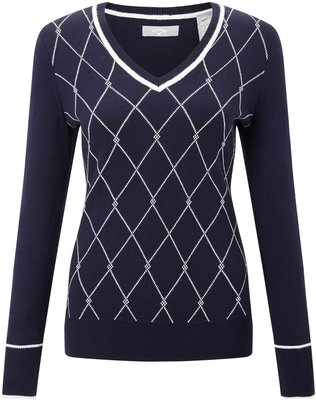 Callaway Jacquard Sweater Peacoat XXL Womens