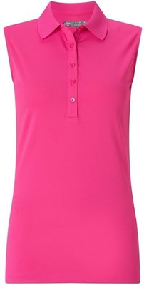 Callaway Sleeveless Micro Hex Polo Pink Yarrow M Womens