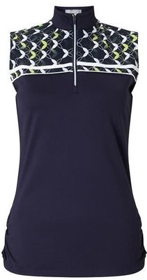 Callaway Medallion Print Mock Sleeveless Polo Peacoat L Womens