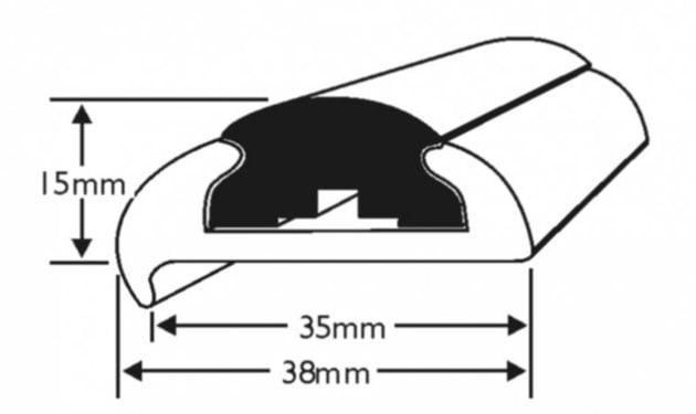 Wilks Dek-King Profile 1472 - Hard PVC - Black