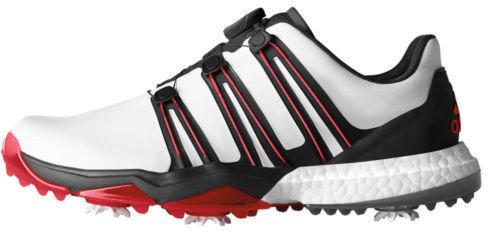 Adidas Powerband BOA Mens Golf Shoes White/Core Black/Scarlet UK 8