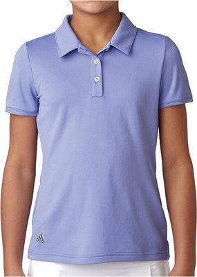 Adidas Girls Short Sleeve Solid Polo Chalk Purple 11-12Y