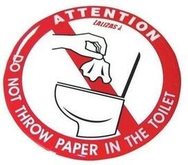 Lalizas Silicone Sticker 80mm - 'No paper in the toilet'