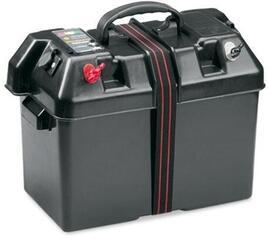 Minn Kota Batteriebox mit Anzeige und Anschlüssen