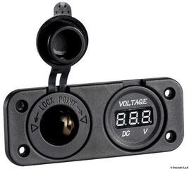 Osculati Digital voltmeter and power outlet recess mounting