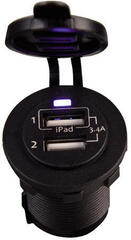 Talamex USB Socket Double 3.4A Black Eyes Flush Frame