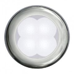 Hella Marine White LED Round Courtesy Lamp 12V Slim Line Polished stainless steel rim