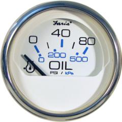 Faria Oil Pressure 0-5bar - White