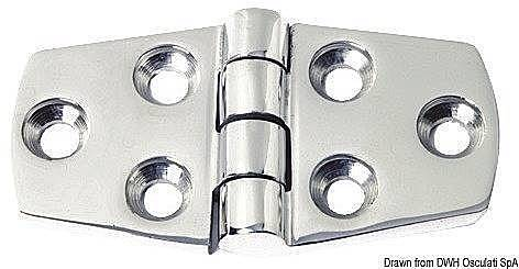 Osculati Protruding hinge 5mm Stainless Steel 38x74 mm
