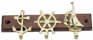 Sea-club Keyholder with anchor - wheel & sailbrass on wood