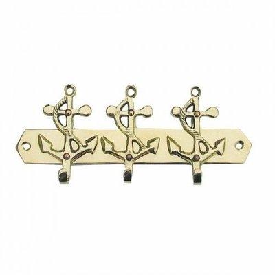 Sea-club Vešiak na kľúče 3 kotvy mosadz
