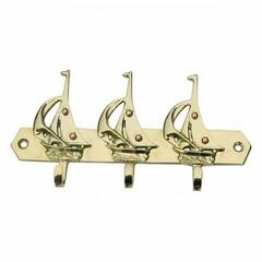 Sea-club Keyholder 3 sailing boats - brass