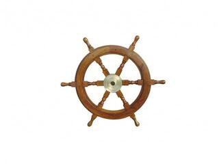 Sea-club Steering Wheel wood with brass Center - o 60cm