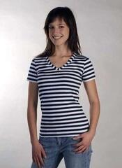 Sailor Women's Breton V neck T-shirt White/Blue