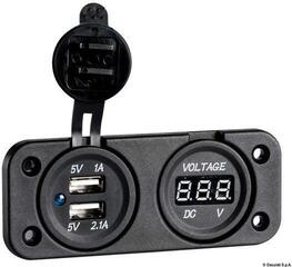 Osculati Digital Voltmeter and Dual USB port 2.1 A