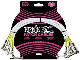 Ernie Ball 1' Angle / Angle Patch Cable 3-Pack White