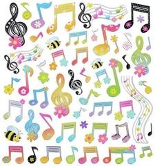 Music Sales Stickers Floral Notes And Clef