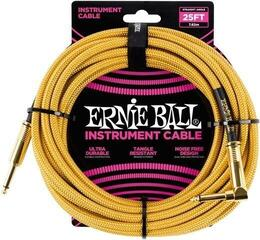 Ernie Ball 25' Braided Straight / Angle Instrument Cable Gold