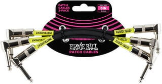 """Ernie Ball 6"""" Angle/Angle Patch Cable 3-Pack Black"""