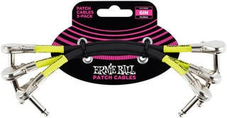 "Ernie Ball 6"" Pancake Angle Patch Cable 3-Pack Black"