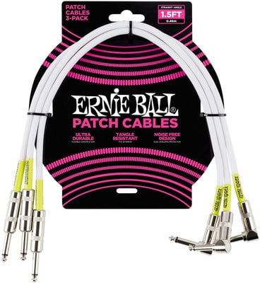 Ernie Ball 1.5' Angle/Straight Patch Cable 3-Pack White