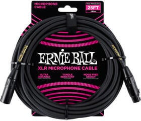 Ernie Ball 25' Male/Female XLR Mic Cable Black