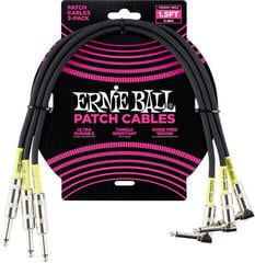 Ernie Ball 1.5' Straight/Angle Patch Cable 3-Pack Black